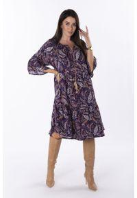 e-margeritka - Sukienka trapezowa midi boho we wzory - fioletowy, U. Kolor: fioletowy. Materiał: wiskoza, materiał. Wzór: aplikacja. Typ sukienki: trapezowe. Styl: boho. Długość: midi