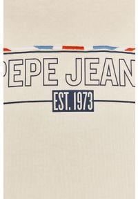 Kremowa bluza Pepe Jeans na co dzień, bez kaptura, z długim rękawem, casualowa