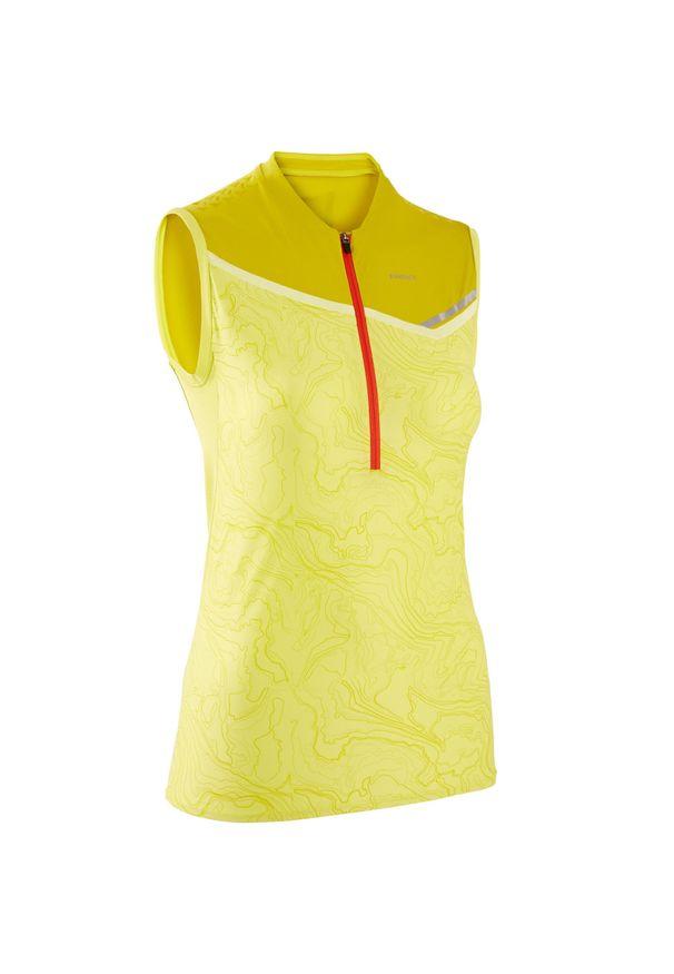 EVADICT - Koszulka do biegania w terenie bez rękawów damska. Kolor: żółty, zielony, wielokolorowy. Materiał: mesh, skóra, materiał. Długość rękawa: bez rękawów. Sport: bieganie