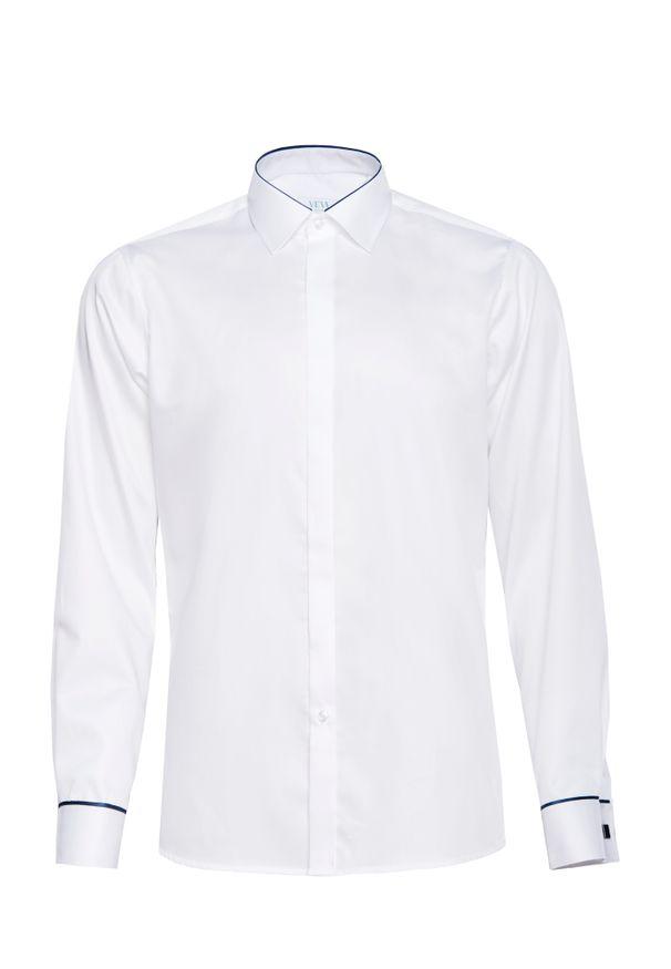 Biała elegancka koszula VEVA z długim rękawem, z klasycznym kołnierzykiem, długa, na spotkanie biznesowe