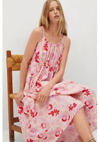 mango - Mango - Sukienka LIME. Kolor: beżowy. Materiał: włókno, materiał. Długość rękawa: na ramiączkach. Typ sukienki: rozkloszowane