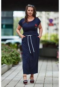 Niebieska sukienka dla puszystych Moda Size Plus Iwanek maxi, plus size, na lato, z krótkim rękawem