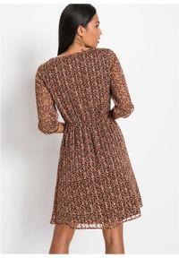 Sukienka z nadrukiem bonprix brązowy w kwiaty. Kolor: brązowy. Wzór: kwiaty, nadruk. Typ sukienki: kopertowe