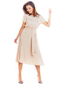 e-margeritka - Zwiewna sukienka na lato beżowa - 42. Okazja: do pracy. Kolor: beżowy. Materiał: wiskoza, materiał, poliester. Długość rękawa: krótki rękaw. Sezon: lato. Typ sukienki: proste. Styl: elegancki. Długość: midi