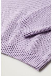 Fioletowy sweter Mango Kids na co dzień, gładki
