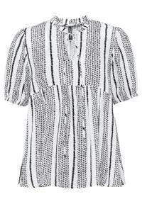 Bluzka z krótkim rękawem: Must Have bonprix biało-czarny wzorzysty. Kolor: biały. Długość rękawa: krótki rękaw. Długość: krótkie