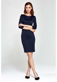 Nife - Granatowa Sukienka Ołówkowa z Asymetrycznym Drapowaniem. Kolor: niebieski. Materiał: poliester, wiskoza, nylon. Typ sukienki: asymetryczne, ołówkowe