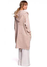 Sweter MOE z kapturem, długi, w ażurowe wzory
