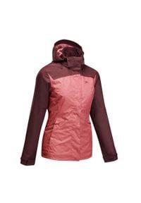 quechua - Kurtka turystyczna - MH100 WTP - damska. Kolor: różowy, czerwony, wielokolorowy. Materiał: materiał