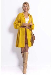 Fobya - Długi Niezapinany Sweter Damski - Żółty. Kolor: żółty. Materiał: wełna, poliester, akryl, poliamid. Długość: długie