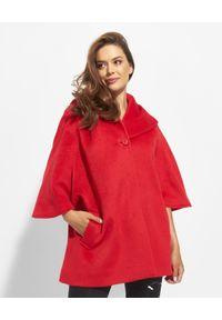 CINZIA ROCCA - Czerwony oversizowy płaszcz z dużym kapturem. Kolor: czerwony. Materiał: materiał