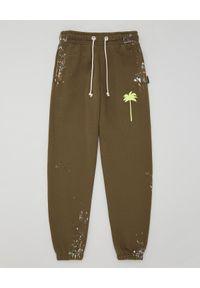 PALM ANGELS - Zielone spodnie dresowe. Kolor: zielony. Materiał: dresówka. Wzór: aplikacja