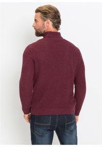 Czerwony sweter bonprix melanż, z golfem