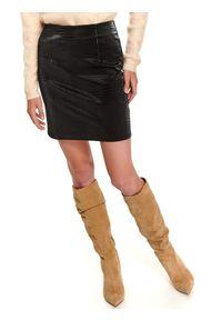 Czarna spódnica TOP SECRET z motywem zwierzęcym, na jesień