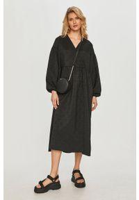 Samsoe & Samsoe - Samsoe Samsoe - Sukienka. Kolor: czarny. Materiał: poliester. Typ sukienki: rozkloszowane #1