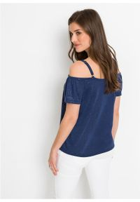 Shirt cold-shoulder z brokatowym połyskiem bonprix kobaltowy. Kolor: niebieski. Długość rękawa: na ramiączkach