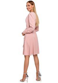 Sukienka MOE do pracy, kopertowa, z długim rękawem