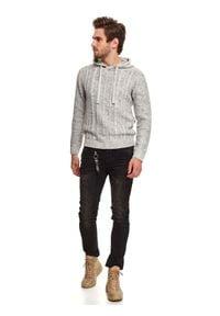 TOP SECRET - Sweter z kapturem. Typ kołnierza: kaptur. Kolor: szary. Materiał: bawełna, materiał. Długość: długie. Sezon: zima #2