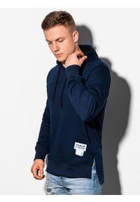 Ombre Clothing - Bluza męska z kapturem B1084 - granatowa - XXL. Typ kołnierza: kaptur. Kolor: niebieski. Materiał: bawełna, poliester