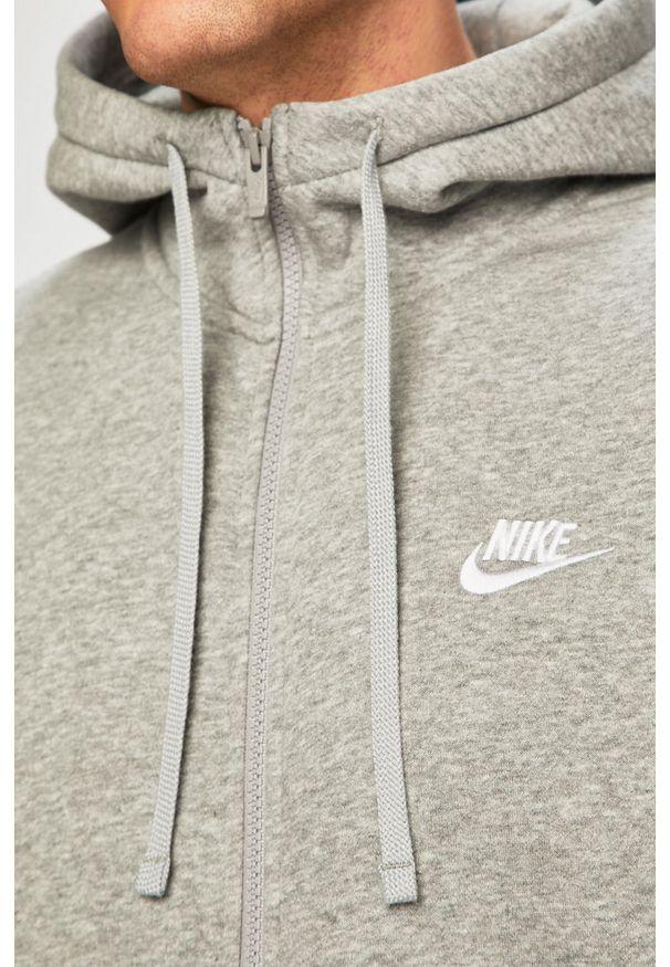 Szara bluza rozpinana Nike Sportswear casualowa, z kapturem, na co dzień