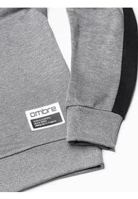 Ombre Clothing - Bluza męska bez kaptura B1081 - szary melanż - XXL. Typ kołnierza: bez kaptura. Kolor: szary. Materiał: bawełna, poliester. Wzór: melanż