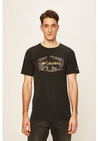 columbia - Columbia - T-shirt. Okazja: na co dzień. Kolor: czarny. Materiał: dzianina, skóra. Styl: casual