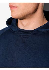 Ombre Clothing - Bluza męska z kapturem B1085 - granatowa - XXL. Typ kołnierza: kaptur. Kolor: niebieski. Materiał: poliester, bawełna #7