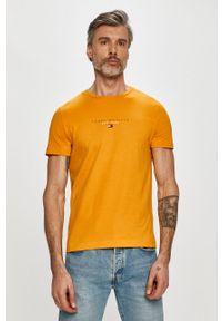 Żółty t-shirt TOMMY HILFIGER z nadrukiem, casualowy