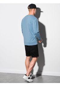 Ombre Clothing - Bluza męska bez kaptura B1149 - błękitna - XXL. Typ kołnierza: bez kaptura. Kolor: niebieski. Materiał: jeans, poliester, materiał, bawełna. Wzór: melanż
