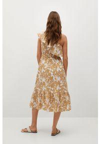 mango - Mango - Sukienka GLORIA-L. Kolor: beżowy. Materiał: tkanina. Typ sukienki: rozkloszowane
