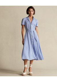 Ralph Lauren - RALPH LAUREN - Sukienka midi w kratkę. Typ kołnierza: polo. Kolor: niebieski. Materiał: tkanina, len. Wzór: kratka. Długość: midi