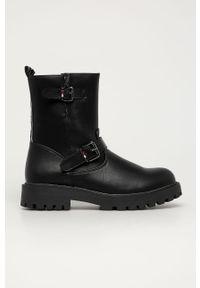 Czarne buty zimowe TOMMY HILFIGER z cholewką, na zimę, na zamek, z okrągłym noskiem