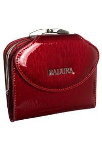 Portfel damski czerwony Badura B-55180P-SH. Kolor: czerwony. Materiał: skóra. Wzór: aplikacja