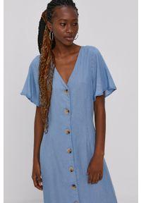 Vero Moda - Sukienka. Okazja: na co dzień. Kolor: niebieski. Materiał: tkanina, jedwab, materiał, lyocell. Długość rękawa: krótki rękaw. Wzór: gładki. Typ sukienki: proste. Styl: casual
