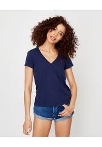 Ralph Lauren - RALPH LAUREN - Granatowy t-shirt z logo. Typ kołnierza: polo. Kolor: niebieski. Materiał: bawełna. Wzór: haft. Styl: sportowy
