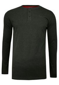 Just Yuppi - Grafitowy T-shirt (Koszulka), Długi Rękaw, Longsleeve -JUST YUPPI- Męski, Rozpinany, z Guzikami. Okazja: na co dzień. Kolor: szary. Materiał: poliester, bawełna. Długość rękawa: długi rękaw. Długość: długie. Styl: casual