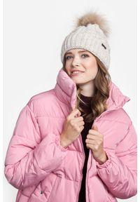 Zimowa czapka damska PaMaMi - Beżowy. Kolor: beżowy. Materiał: akryl, poliamid. Sezon: zima