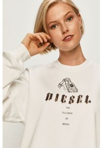 Biała bluza Diesel casualowa, na co dzień, z aplikacjami