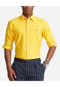 Ralph Lauren - RALPH LAUREN - Żółta koszula z haftowanym logo. Typ kołnierza: polo. Kolor: żółty. Materiał: bawełna. Długość rękawa: długi rękaw. Długość: długie. Wzór: haft