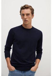 Niebieski sweter Mango Man na co dzień, długi, z długim rękawem