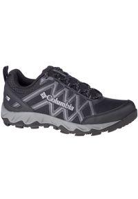 Czarne buty trekkingowe columbia w kolorowe wzory, z cholewką