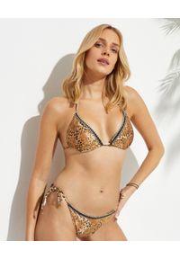 AGUA BENDITA - Dół od bikini Alegria Jambo. Kolor: brązowy. Wzór: motyw zwierzęcy, aplikacja, nadruk