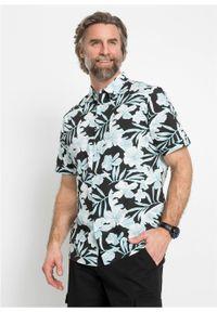 Czarna koszula bonprix krótka, w paski, z krótkim rękawem