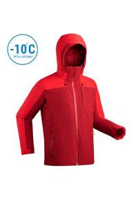 WEDZE - Kurtka narciarska męska Wedze 500. Kolor: czerwony. Materiał: puch, skóra, materiał. Sport: narciarstwo