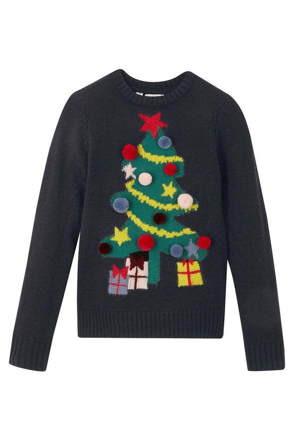 Sweter dziewczęcy z bożonarodzeniowym motywem bonprix Sweter dziew bożon czar. Kolor: czarny. Materiał: materiał, akryl. Wzór: aplikacja