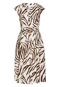 Sukienka szmizjerka lniana z paskiem bonprix brązowo-kremowy w paski zebry. Kolor: brązowy. Materiał: len. Wzór: motyw zwierzęcy, paski. Typ sukienki: szmizjerki