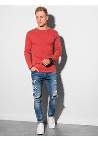 Ombre Clothing - Longsleeve męski bez nadruku L131 - czerwony - XXL. Kolor: czerwony. Materiał: dresówka, bawełna. Długość rękawa: długi rękaw. Styl: klasyczny