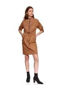 Beżowa sukienka TOP SECRET gładkie, koszulowa