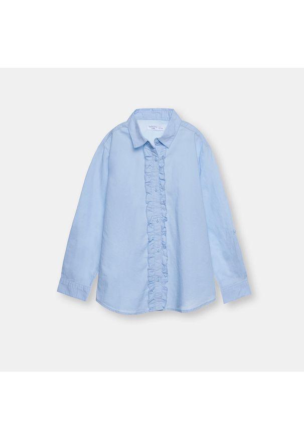 Niebieski top Sinsay długi, z długim rękawem