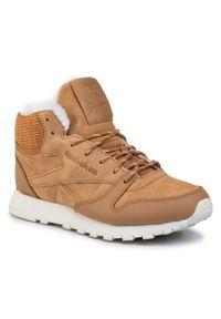 Beżowe buty sportowe Reebok z cholewką, Thinsulate, na płaskiej podeszwie